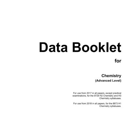 A Level H2 Chemistry Data Booklet 2020