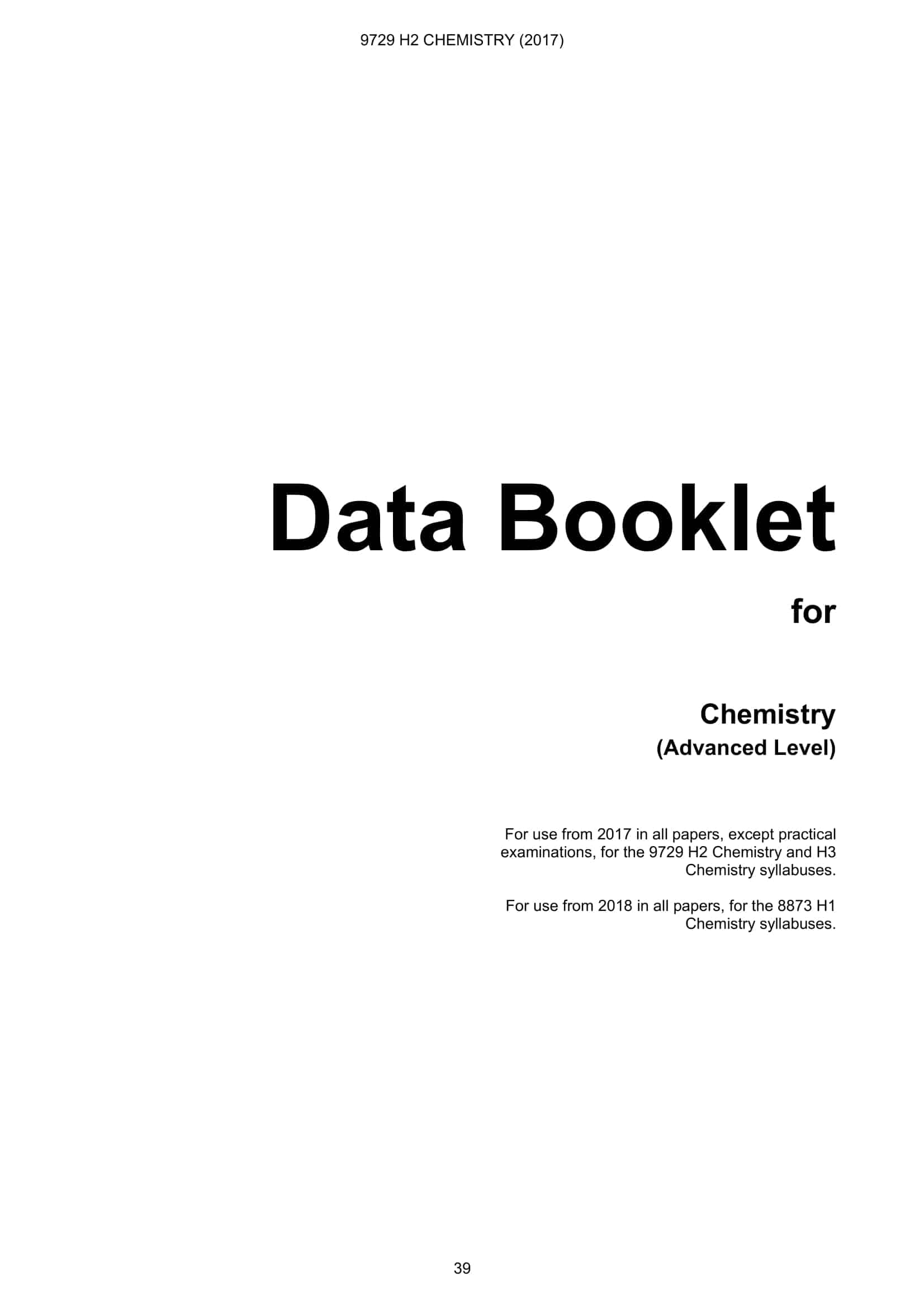 Data booklet chemistry a level data booklet for chemistry advanced level 1 urtaz Image collections