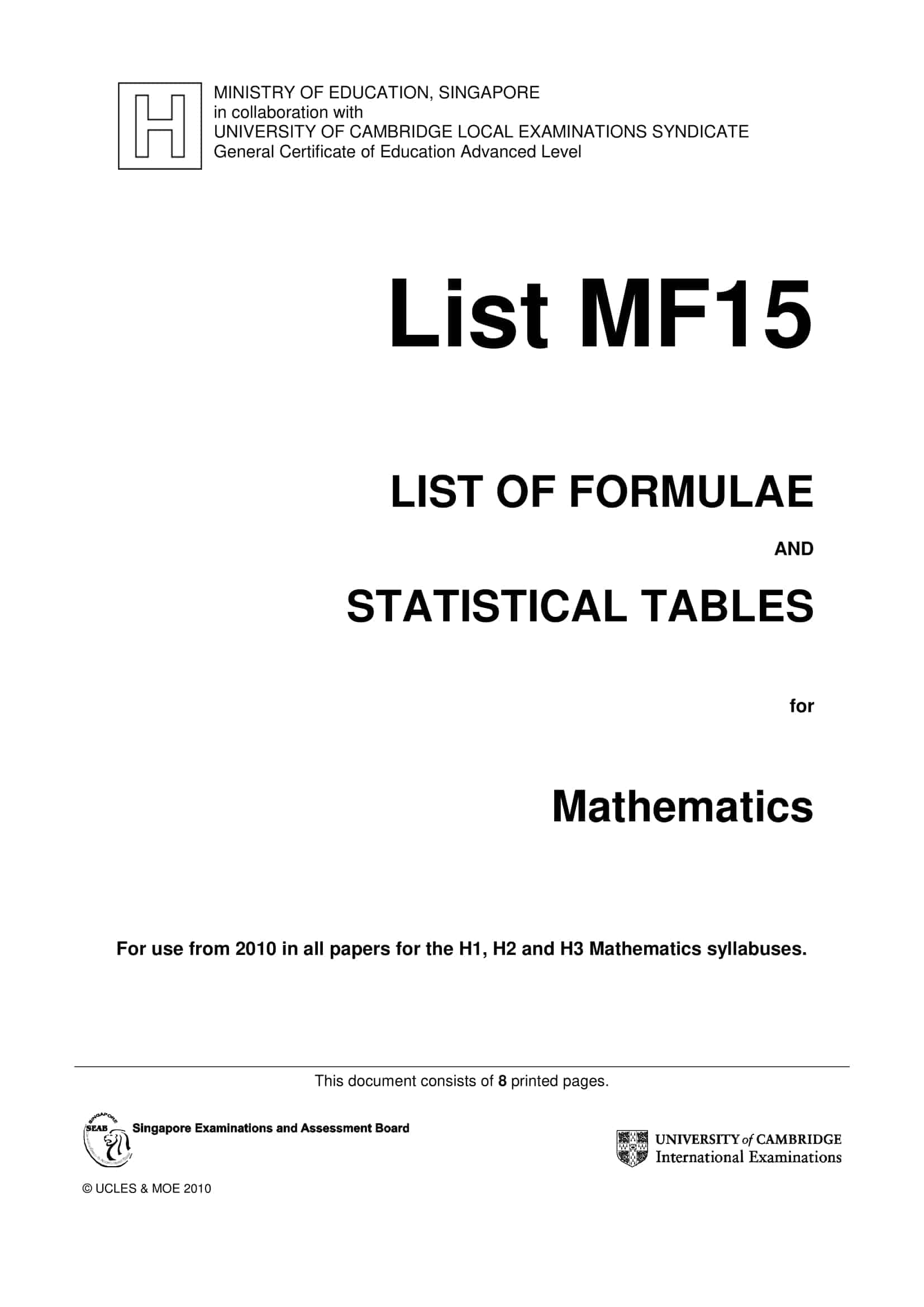 A Level MF15 Math Formula Sheet and List