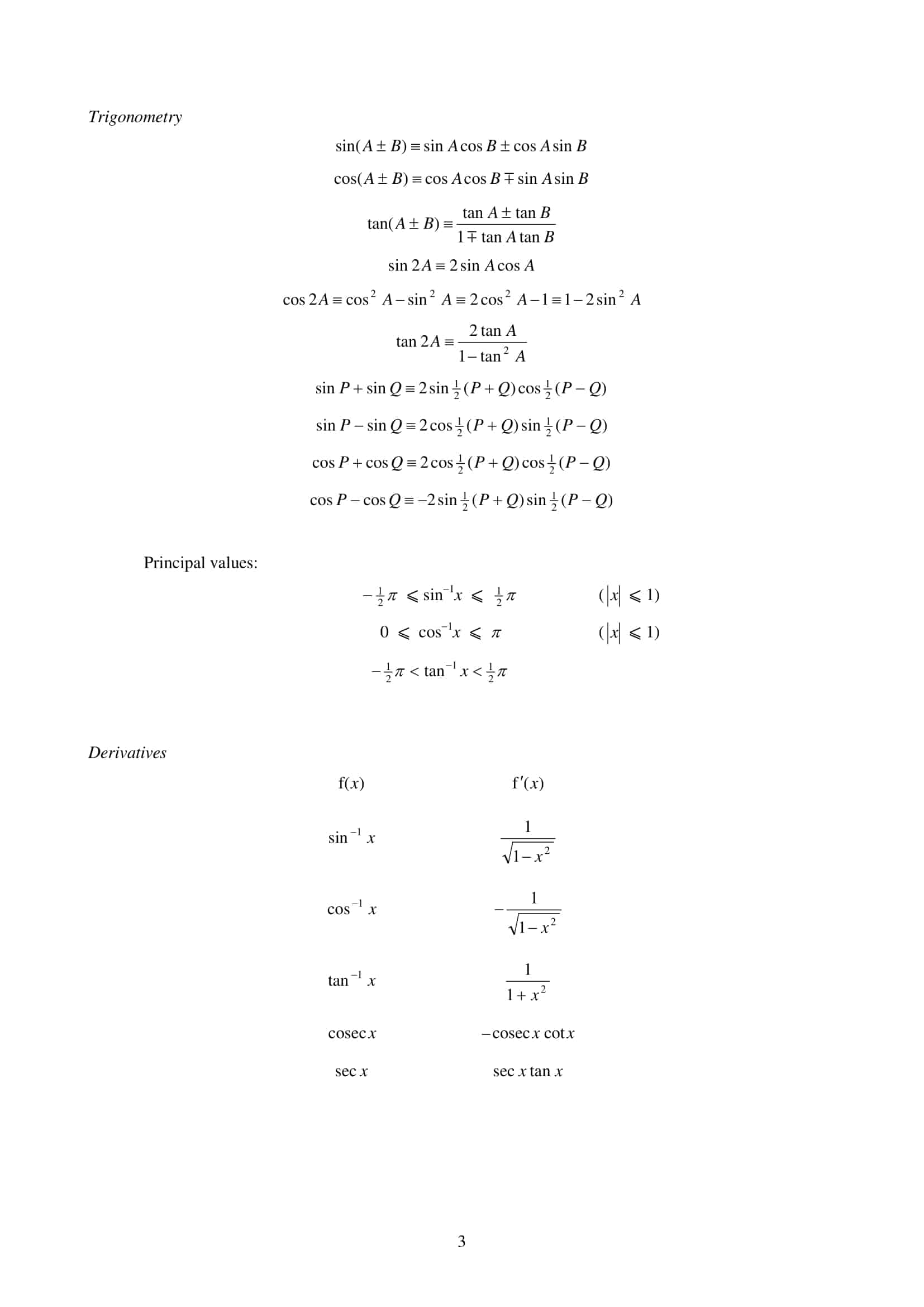 List MF26 List of Formulae and Statistical Tables Mathematics and Further Mathematics 3