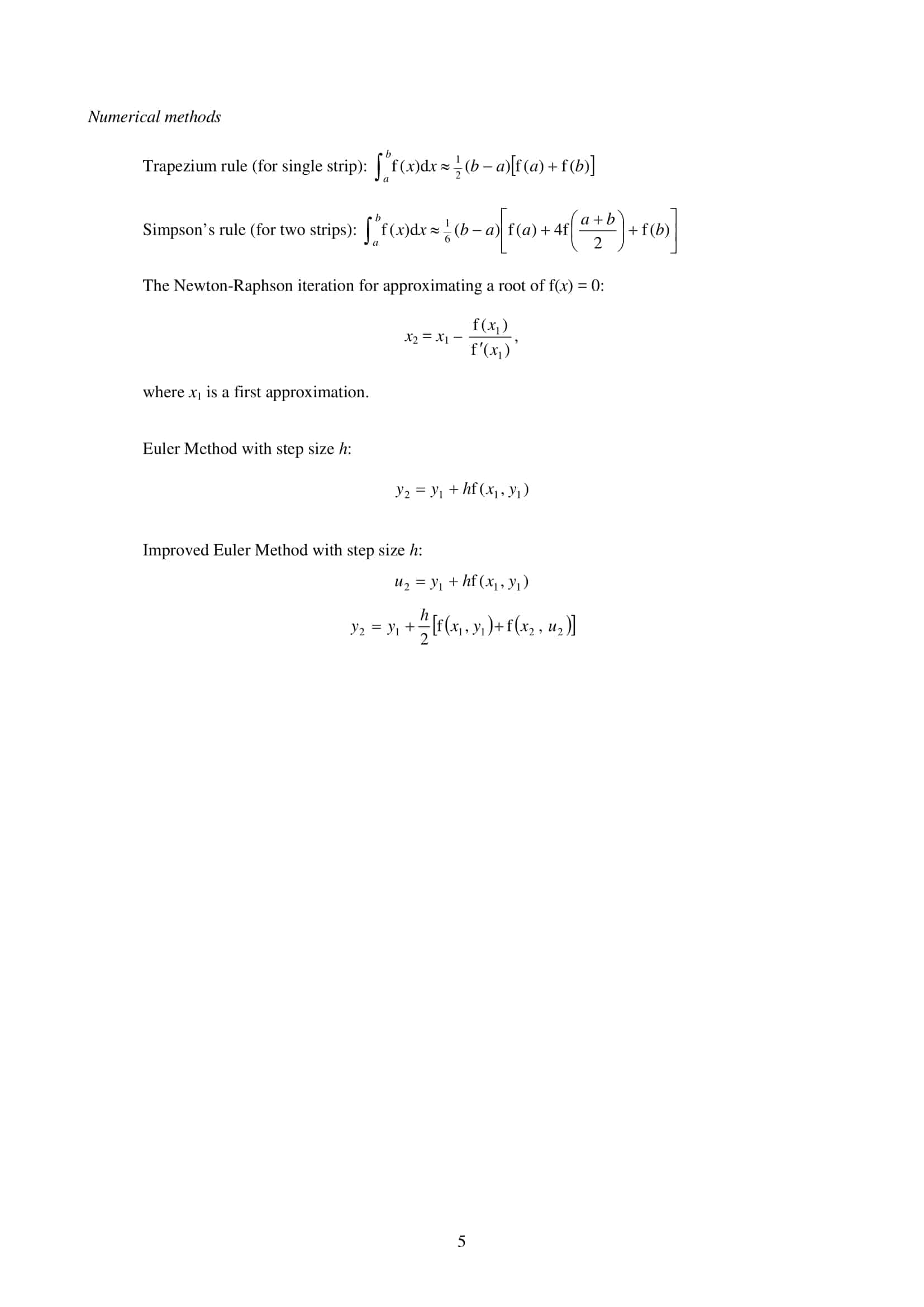 List MF26 List of Formulae and Statistical Tables Mathematics and Further Mathematics 5