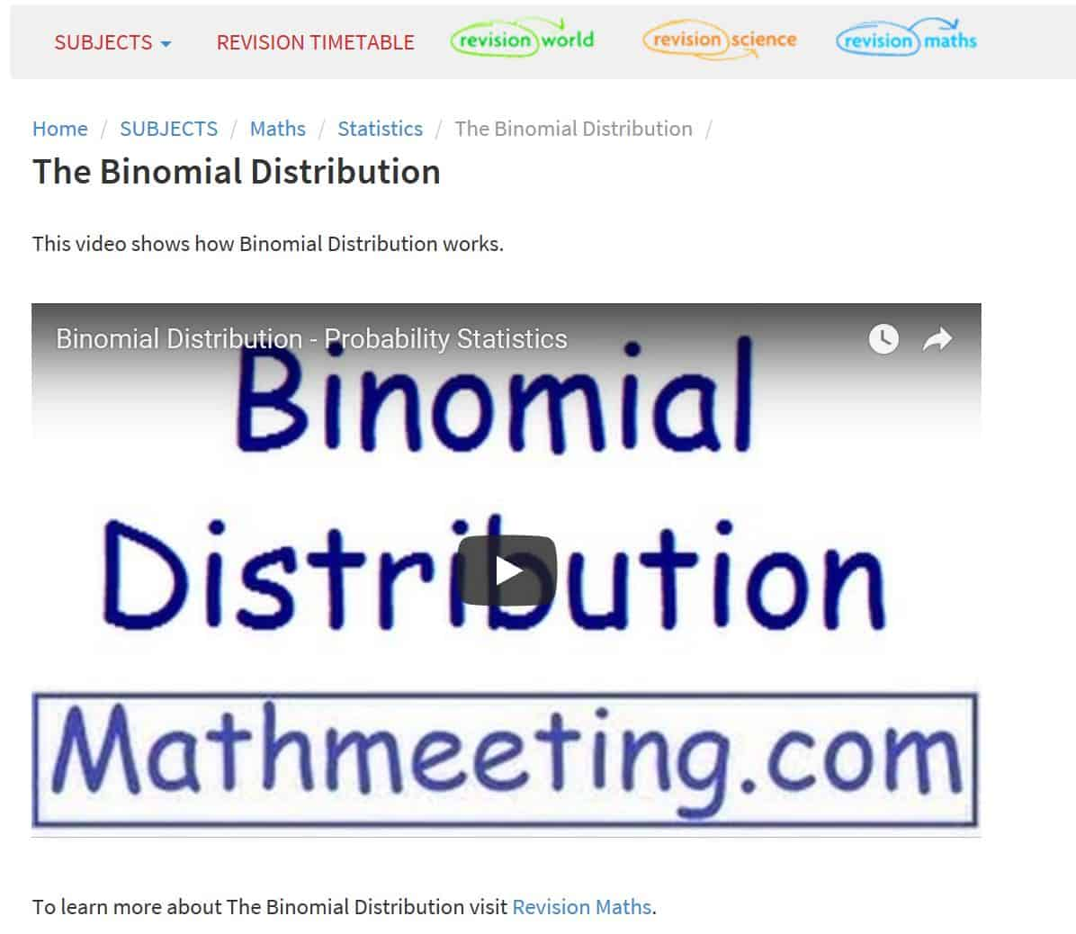 revisionvideos binomial distribution