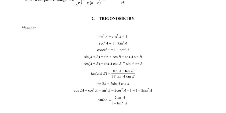 A Math Formula Sheet O Level