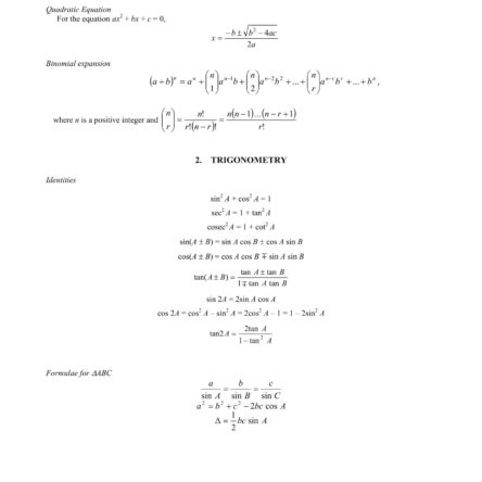 A Math Formula Sheet O Level