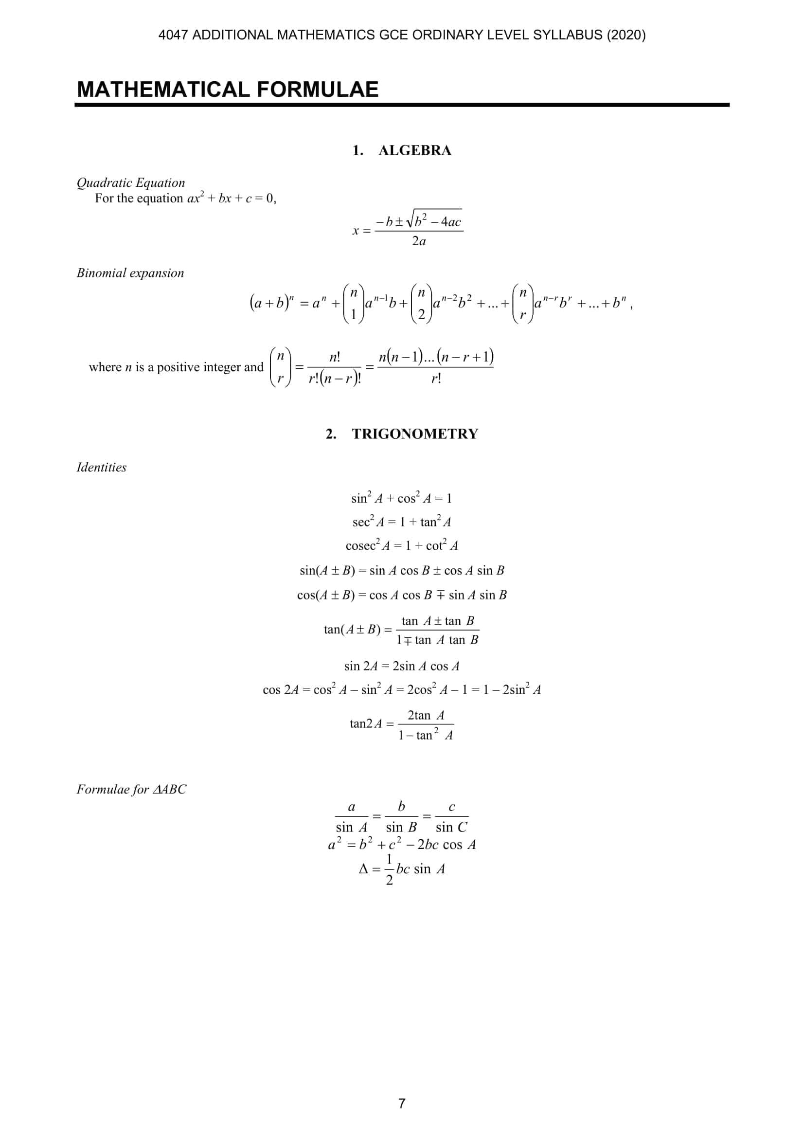 A Math Formula Sheet O Level 1