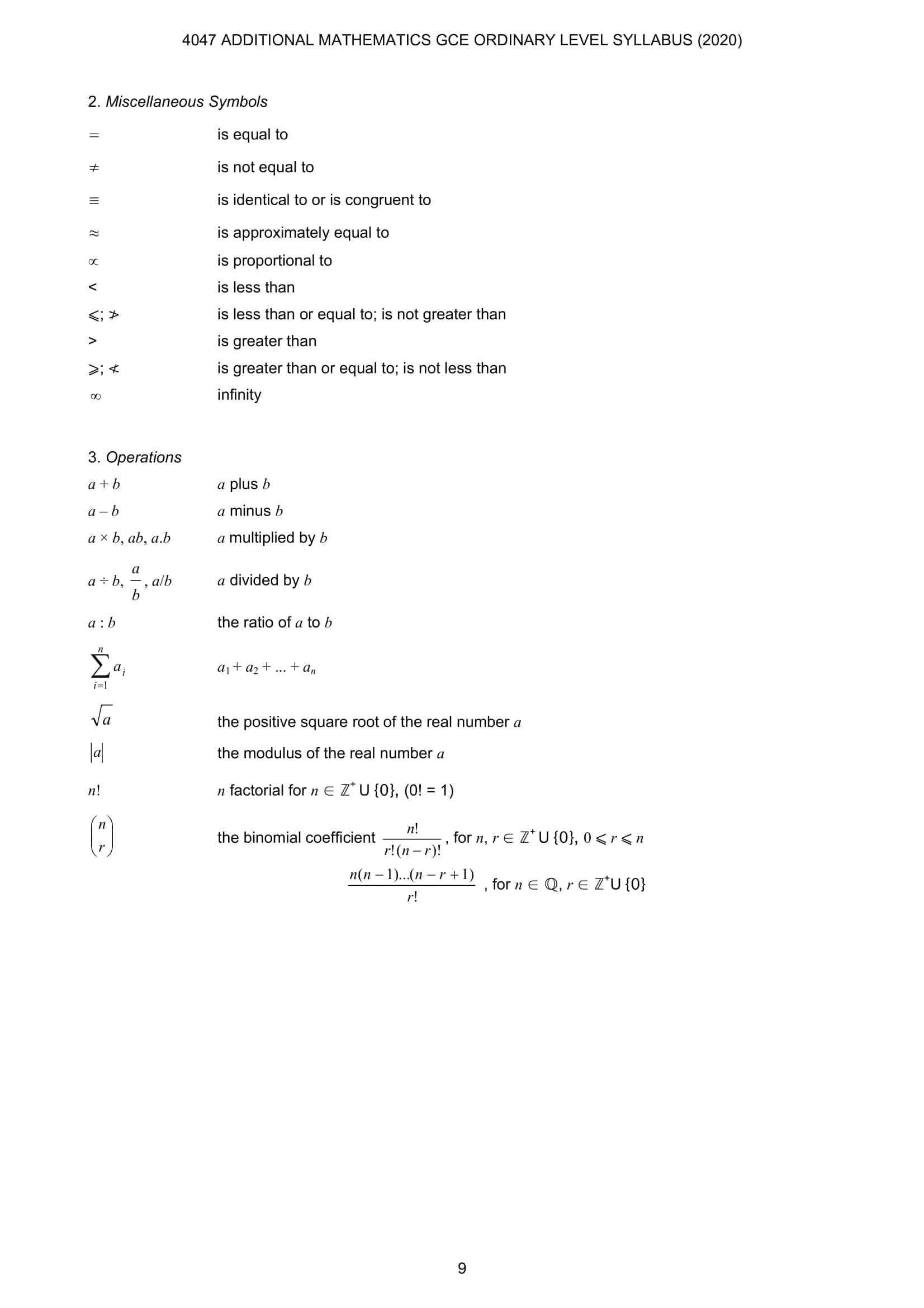 A Math Formula Sheet O Level 3