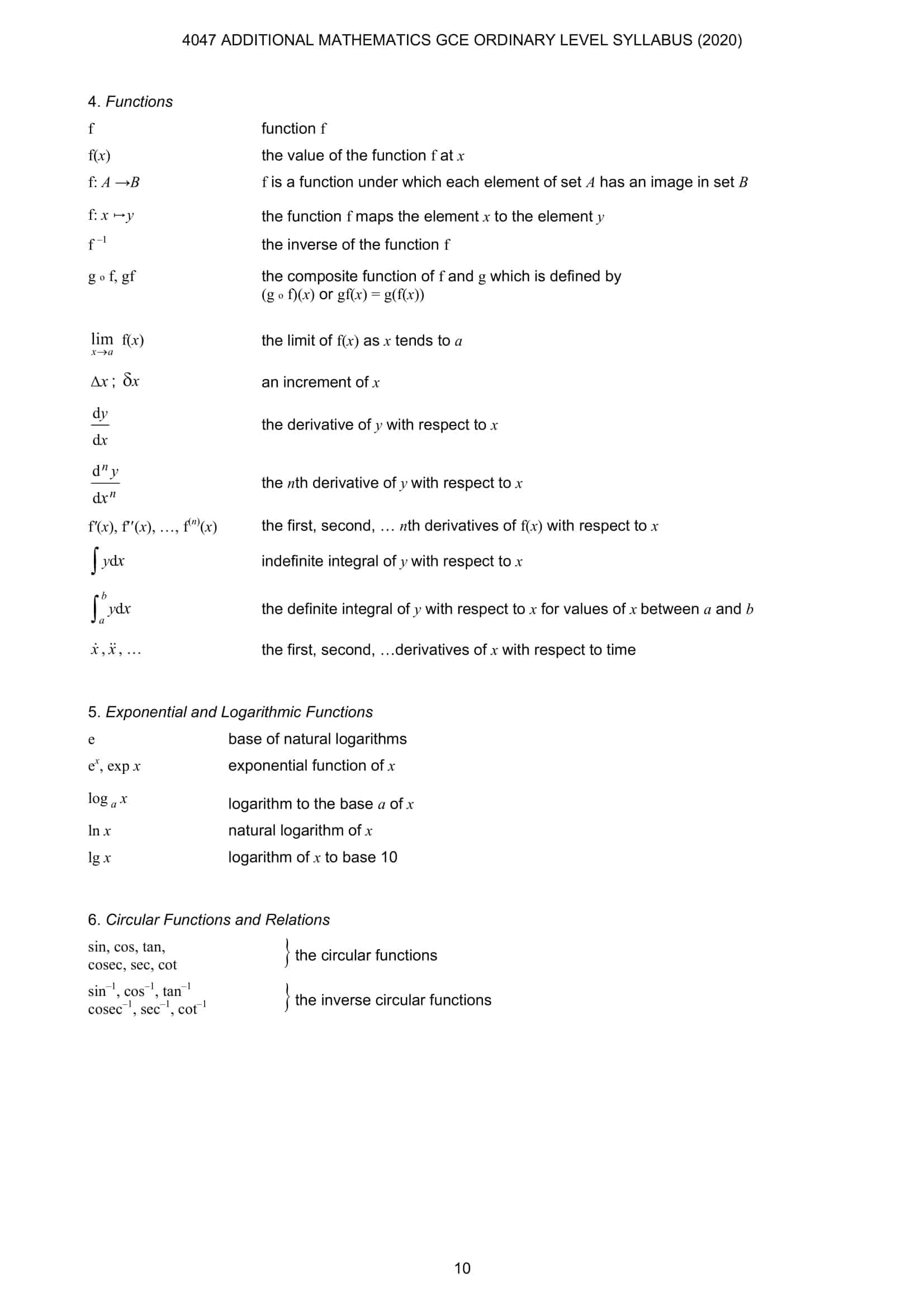 A Math Formula Sheet O Level 4