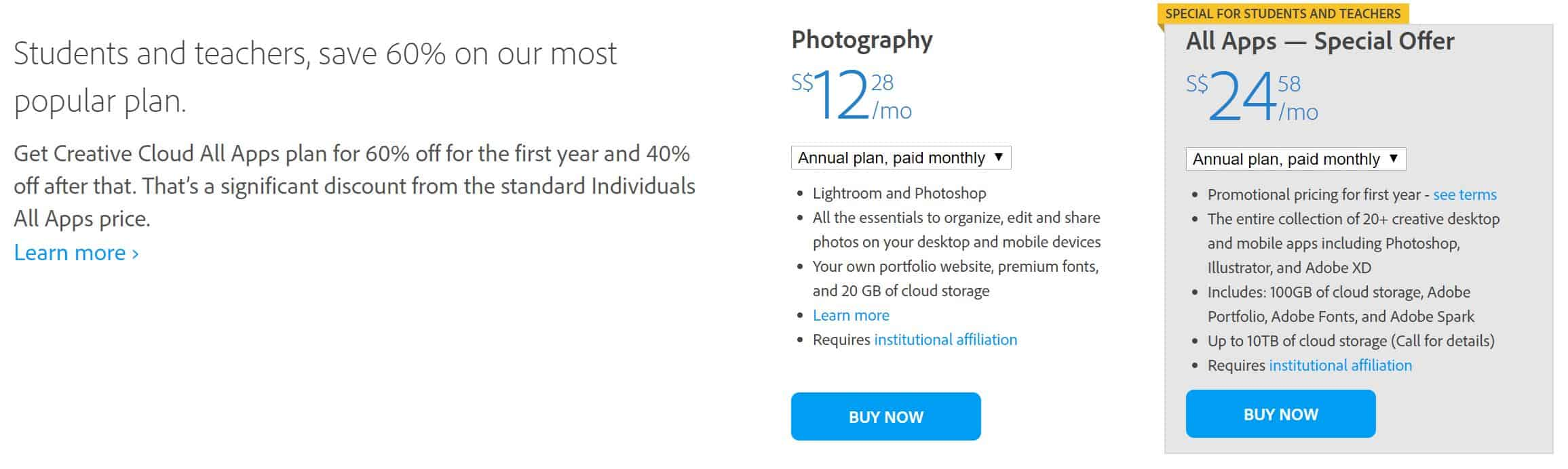 Adobe Creative Cloud Student Price