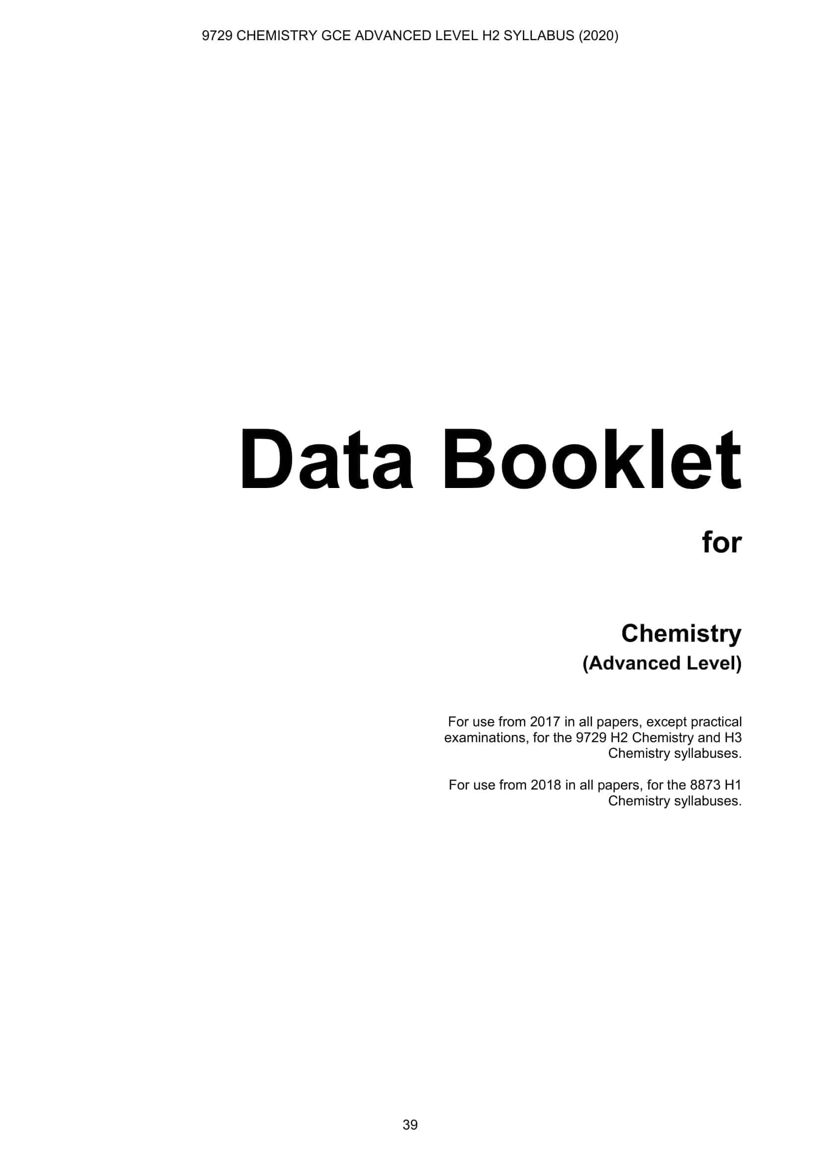 Chemistry Data Booklet 1