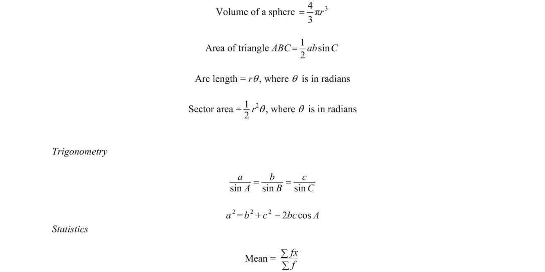 EMath Formula Sheet O Level