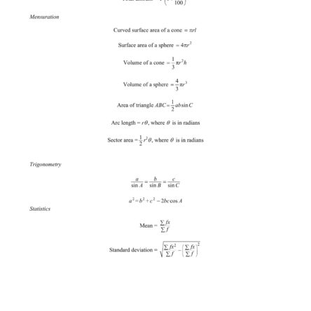 EMath Formula Sheet O Level