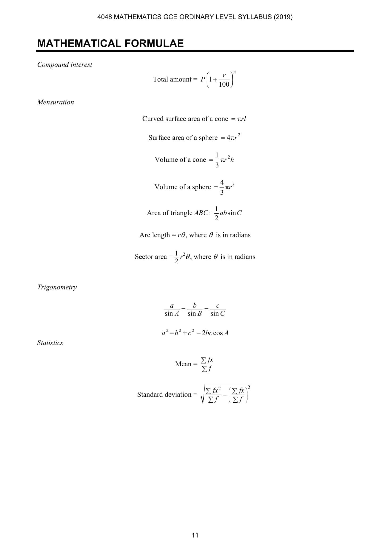 EMath Formula Sheet O Level 1