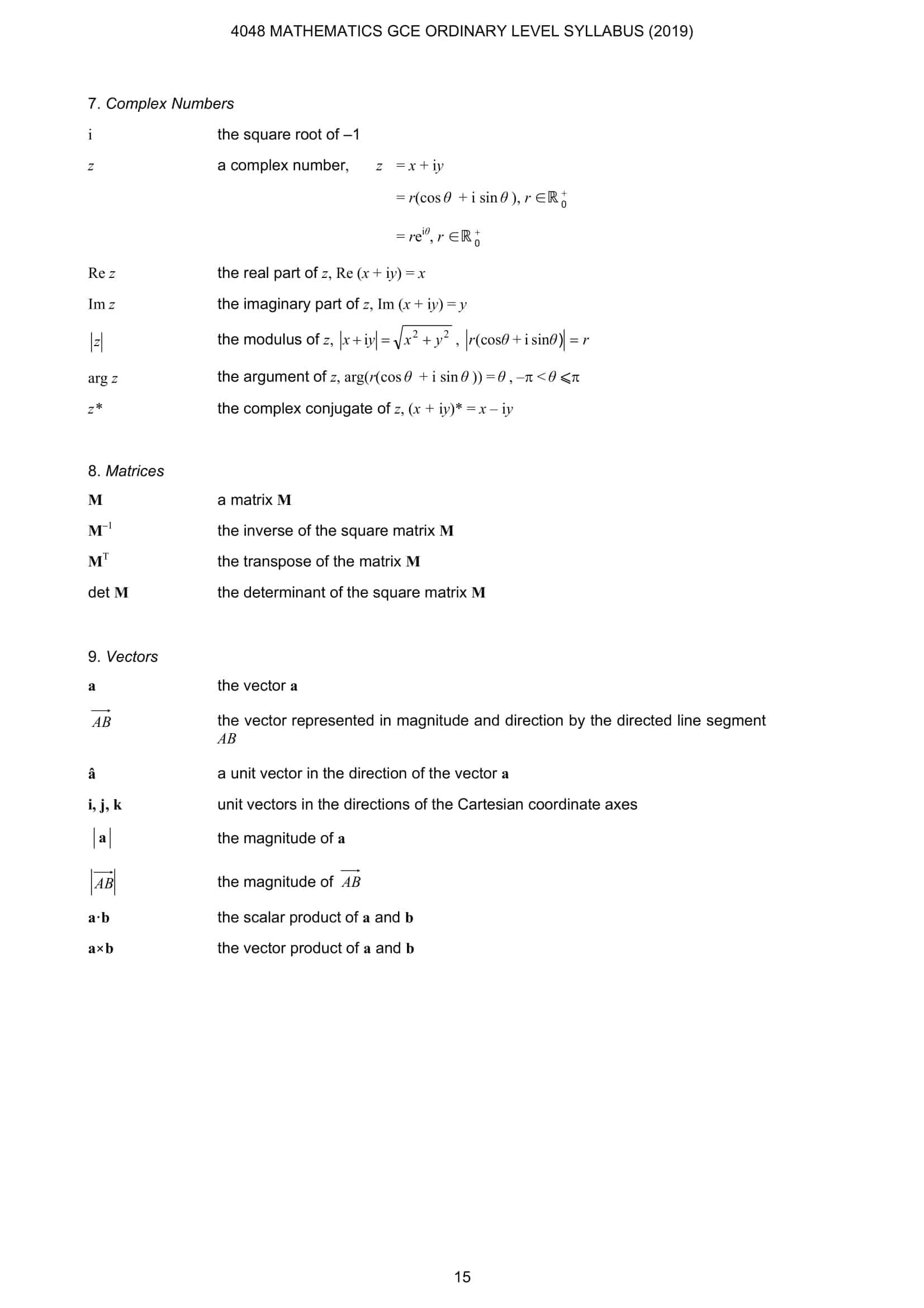EMath Formula Sheet O Level 5