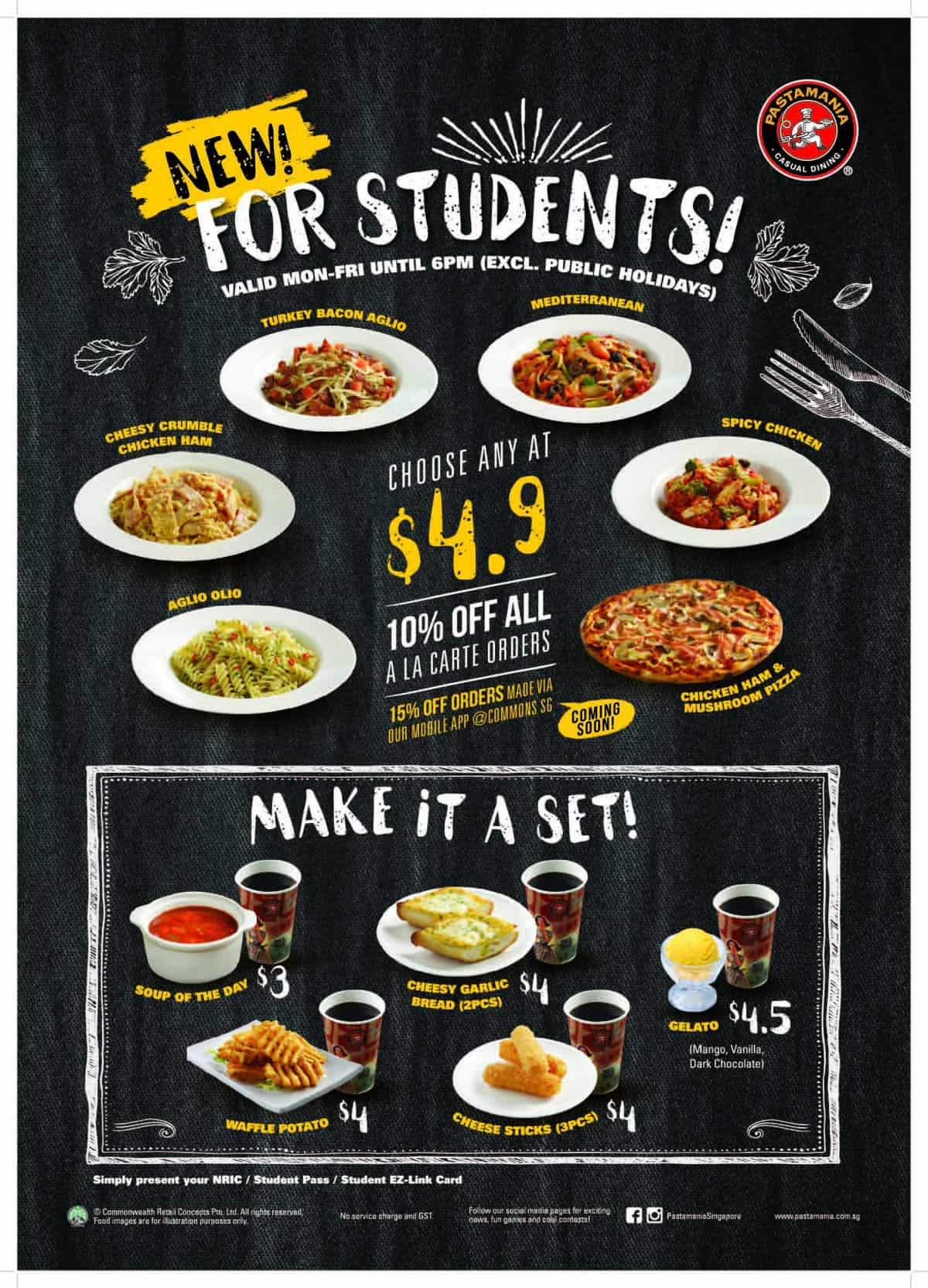 Pastamania Student Meal