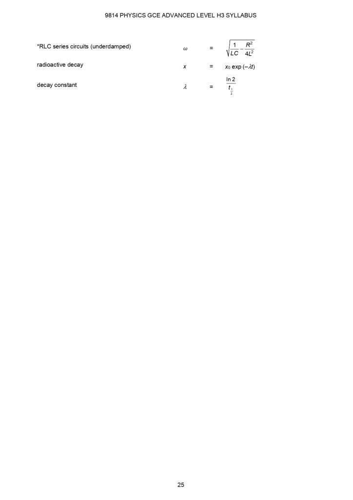 H3 Physics data booklet